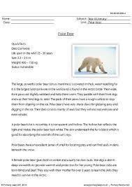 primaryleap co uk reading comprehension polar bear worksheet