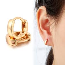 hoop huggie yellow gold color mini slim small huggie hoop earrings for