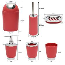 Red And Black Bathroom Accessories Sets Buy Shresmo Red And Beige Polyresin Bathroom Accessories Set Of