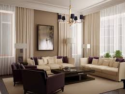 amusing white living room curtains with cream and dark brown sofa