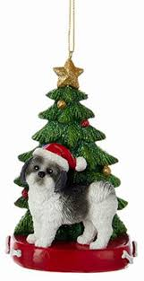 shih tzu tree ornament black