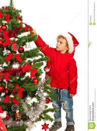 toddler boy decorate tree stock image image of season 34640205