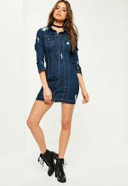 blue fitted ripped denim shirt dress missguided