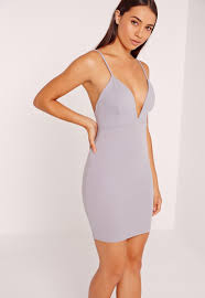 bodycon dresses scuba strappy bodycon dress grey missguided
