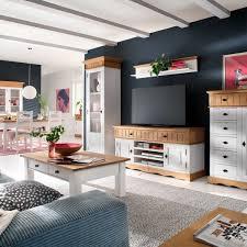 Wohnzimmer Antik Sideboard Pinie Massiv Weiß Natur Landhausstil Jütland