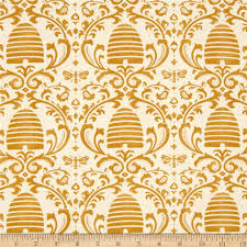 moda bee creative beehive damask white gold discount designer
