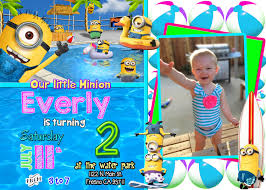 minion birthday party invites minion pool party birthday invitation invite with picture photo