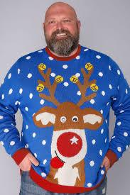 christmas jumper blue reindeer novelty christmas jumper