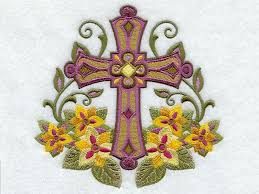 easter religious cross with flowers machine embroidery puzzles