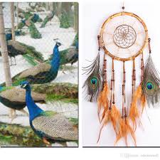 2017 dream catcher handmade traditional peacock feather wall
