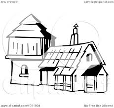 clipart outline of an old fashioned house royalty free vector