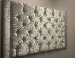 Silver Velvet Headboard by Brand New 4ft 6 Double Bed Silver Crushed Velvet Headboard With