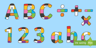 Elmer The Patchwork Elephant Story - patchwork display lettering to support teaching on elmer