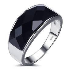ring of men high quality black agate gem 925 sterling silver men ring a