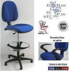 chaise bureau haute impressionnant chaise bureau haute superconfort gi hauteur assise 60