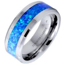 green opal tungsten wedding band 8mm with blue green opal inlay