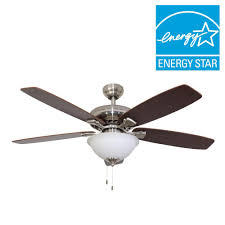 energy star ceiling fans with lights sahara fans ardmore 52 in brushed nickel energy star ceiling fan