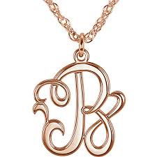 script monogram necklace 15mm single letter script monogram necklace snyder jewelers