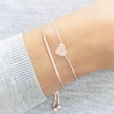 bracelet sets personalised heart and bar bracelet set by bloom boutique