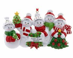 snowmen with banner family of 5 personalized ornament