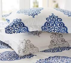 Porcelain Blue Duvet Cover Asher Organic Duvet Cover U0026 Sham Gray Pottery Barn