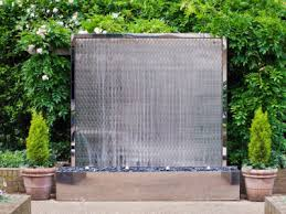 water wall waterfall fountain contemporary patio wood waterfall