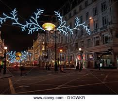 regent street at night showing christmas decorations city of