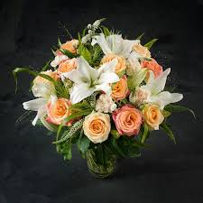 Peach Roses The Best Peach Rose U0026 Lily Blossom Bouquet