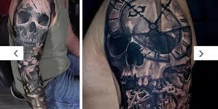 tattoos com eye catching skull sleeve tattoo ideas