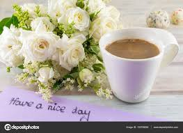 white roses coffee and have a nice day note u2014 stock photo