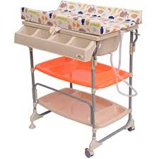 Baby Change Table With Bath Homcom Baby Changing Table Unit Changing Station Storage Trays And