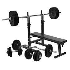 bench press 100kg gorilla sports weight bench with 100kg vinyl complete weight set
