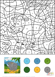 rhino color by number free printable coloring pages