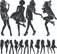 beautiful black and white silhouette vector free vector 4vector