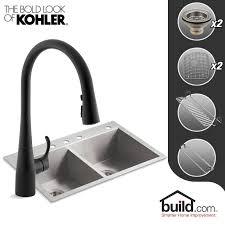 Kohler Stainless Steel Undermount Kitchen Sinks by Faucet Com K 3820 4 K 596 Bl In Matte Black Faucet By Kohler