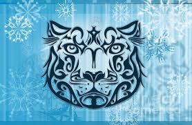 tribal tattoo design illustration poster of snow leopard digital