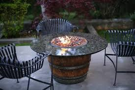Wine Barrel Patio Table Granite Top Wine Barrel Pit Table Fireplaces Firepits