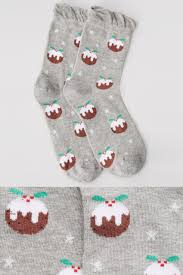 grey christmas pudding bauble gift socks size 4 to 11