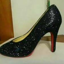 ceramic high heel shoe red bottom with black glitter