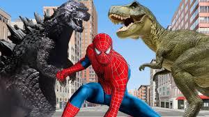 finger family spiderman vs dinosaurs cartoons for children nursery