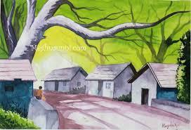 drawn scenery color pencil and in color drawn scenery color