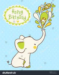 happy birthday card cartoon elephant wishes stock vector 134902151