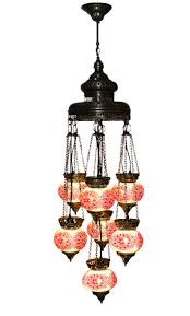 Mosaic Pendant Lighting by Art Win Lighting P11012 7h 7 Light Red Handmade Turkish Mosaic