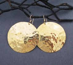 gold disc earrings large gold disc earrings in hammered brass and 14k gold filled