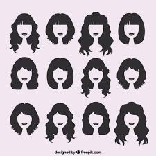 silhouettes of female haircuts vector free download