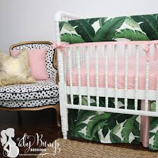 leaf print u0026 blush pink baby crib rail cover