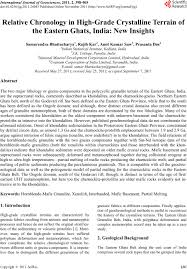 eastern ghats relative chronology in high grade crystalline terrain of the