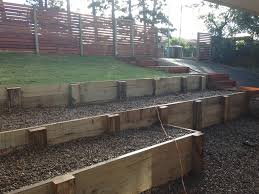 Retaining Wall Garden Bed by Timber Sleeper Retaining Wall Design For Garden Beds Home
