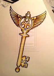 winged skeleton key tattoo design sketch on deviantart tattoomagz