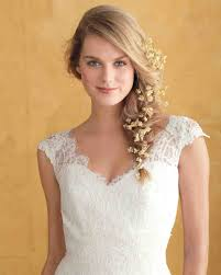 bridal hairstyle for gown floral wedding hairstyles martha stewart weddings
